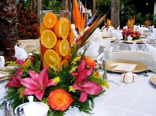 Centros de mesa con frutas naturales