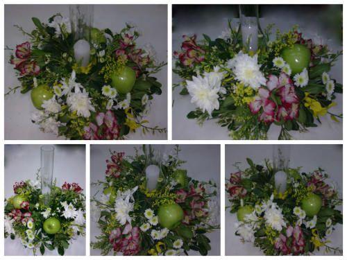 Centros de mesa con frutas y flores