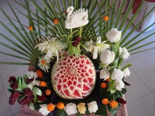 Centros de mesa con frutas y verduras
