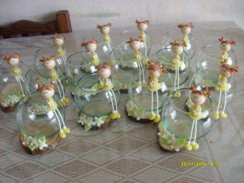 Centros de mesa de cristal para bautizo