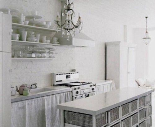 Cocinas rusticas blancas - Adornos para cocinas pequenas ...