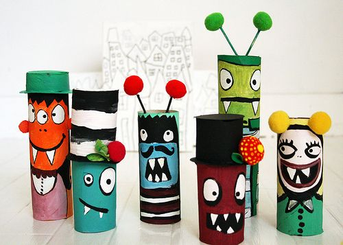Craft Toilet Paper Roll Monsters for Kids