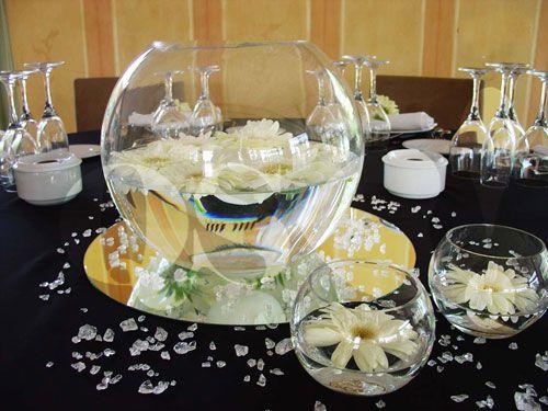 Centros de mesa para boda con peceras