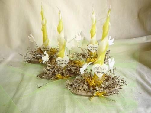 Centros de mesa para comunión con velas