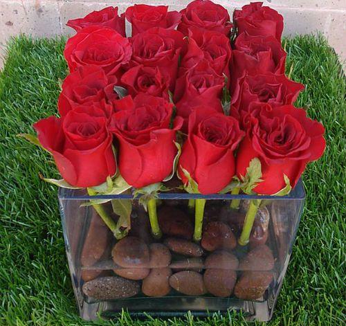 Centros de mesa rosas rojas