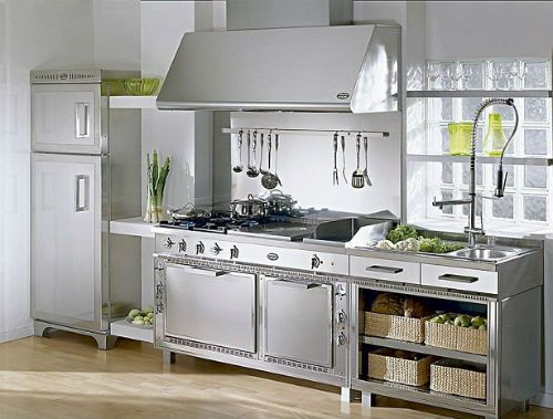 Cocinas integrales en acero inoxidable modernas - Accesorios de cocina de diseno ...