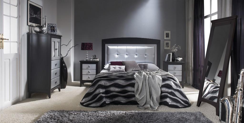 Dormitorios plateados for Cortinas dormitorio moderno