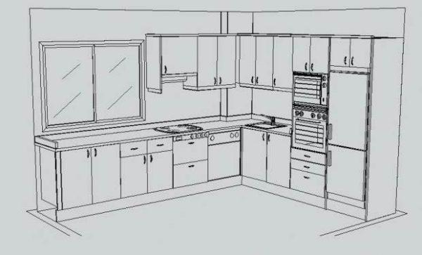 Planos a medida de cocinas integrales modernas for Muebles de cocina planos pdf