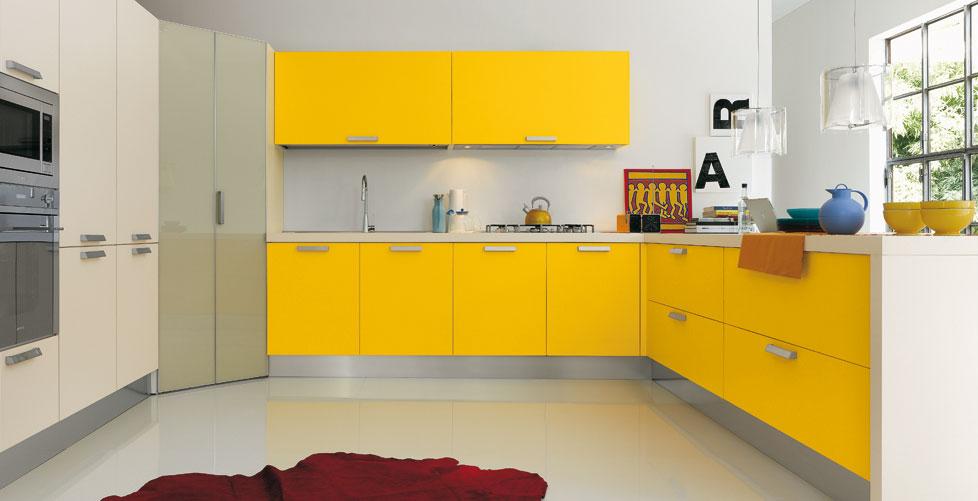 Cocinas de color amarillo for Cocinas rosas y blancas