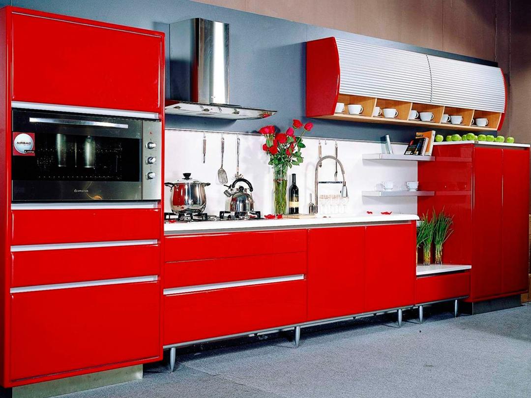 Decoraci n de cocinas rojas for Colores para cocinas fotos
