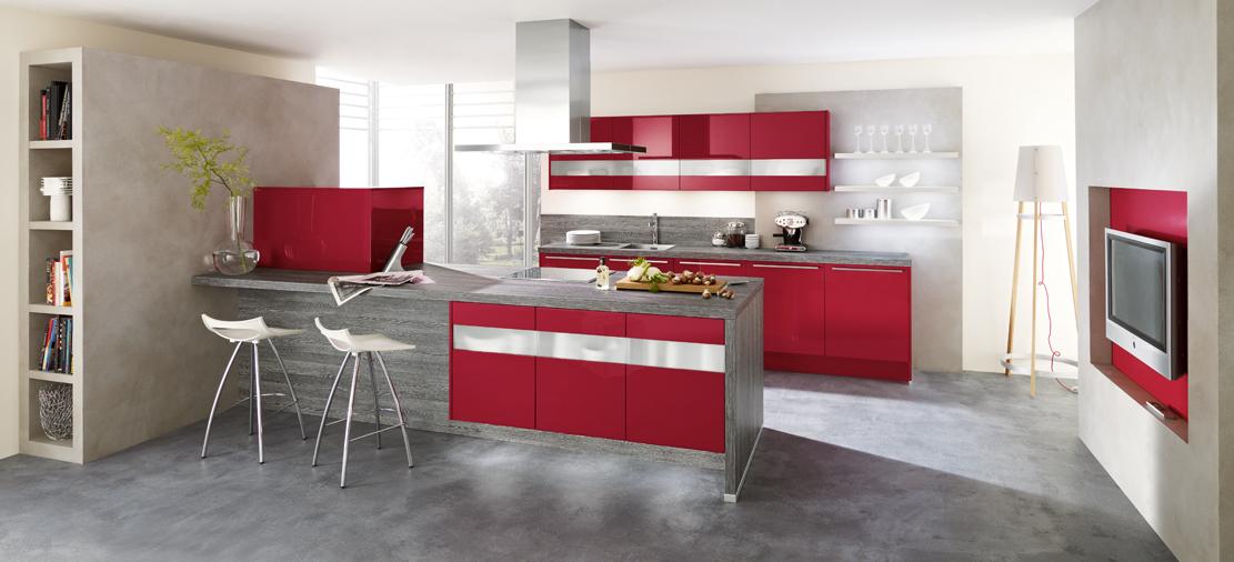 Cocinas rojas cocinas grises y rojas with cocinas blancas for Sillas de cocina rojas
