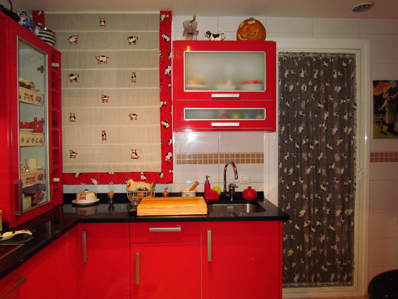 Decoraci n de cocinas rojas - Cocinas pintadas fotos ...