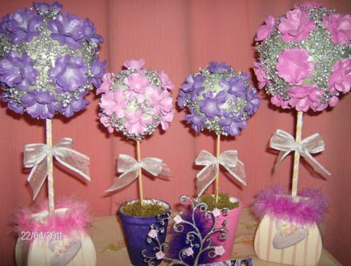 Centros de mesa con flores y globos