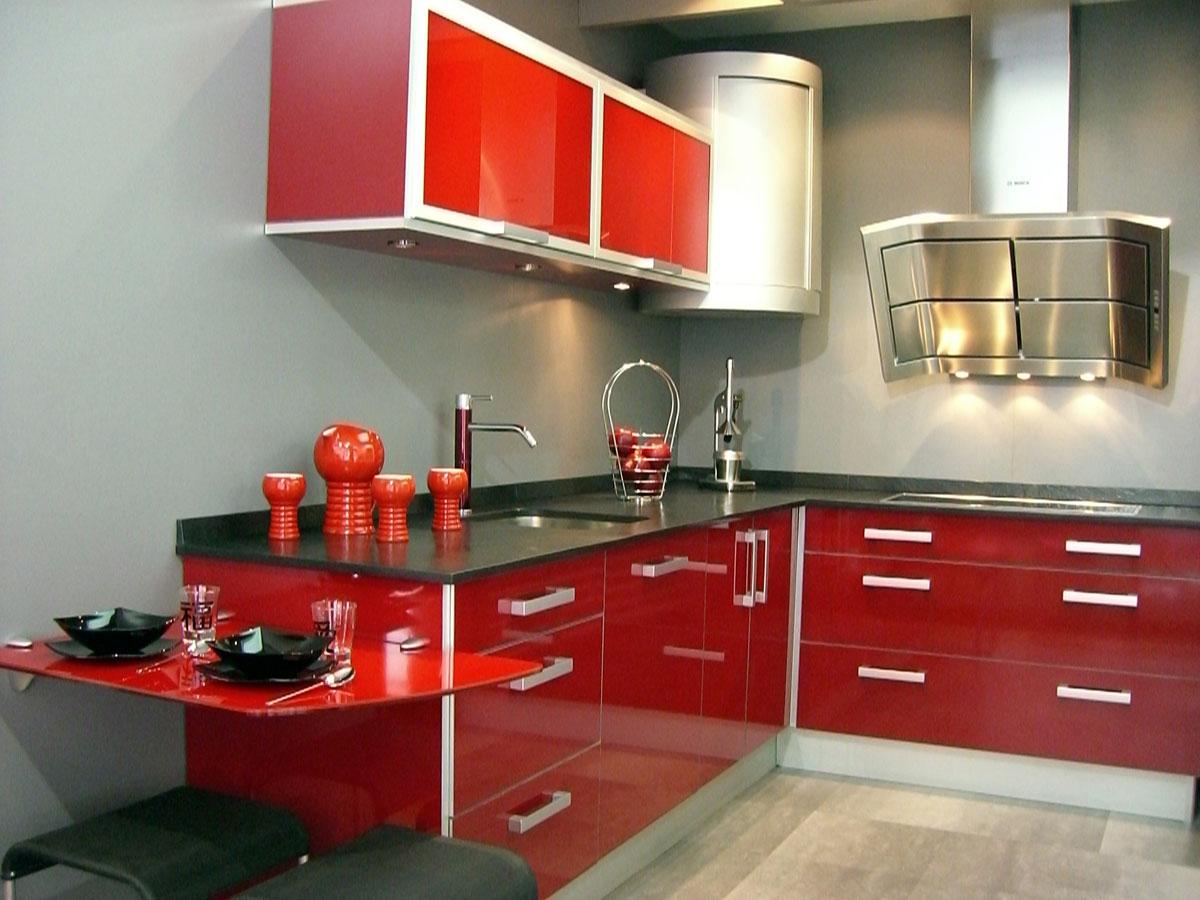 Decoraci n de cocinas rojas - Cocinas rojas y blancas ...