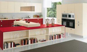 cocinas de color rojo y gris