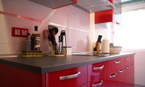 cocinas modernas rojas