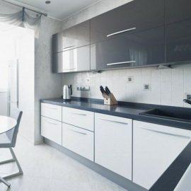 cocina apartamento blanca y gris