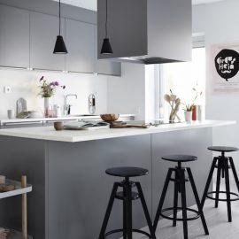cocina moderna gris blanca