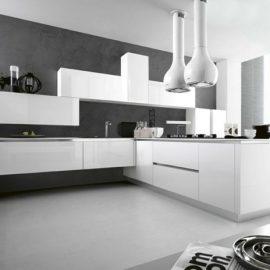 cocina muebles blancos pared gris