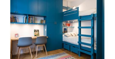 habitación de niño decorada en azul