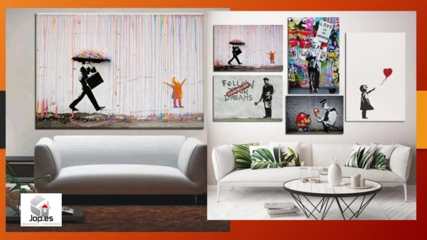 imagenes de cuadros de bansky en el salon
